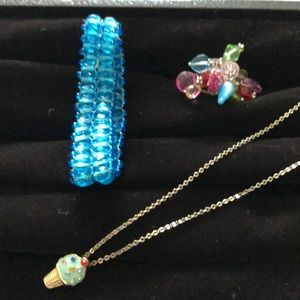 Fun jewelry set - bracelet, necklace and ring